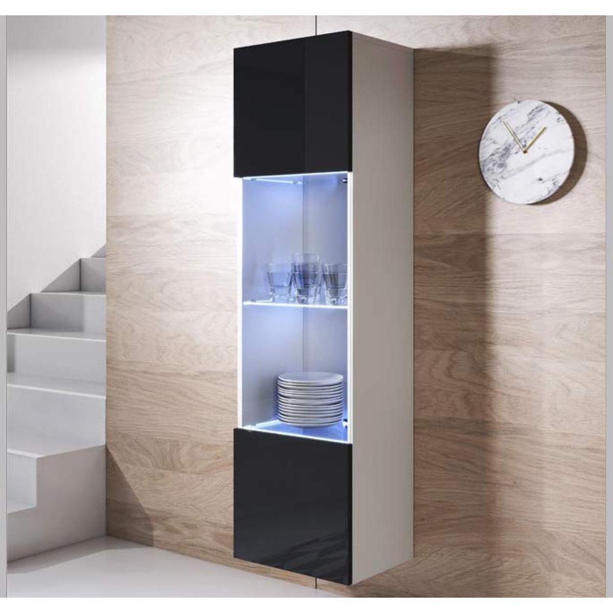 Design Ameublement Armoire mural modèle Luke V6 (40x165cm) couleur blanc et noir