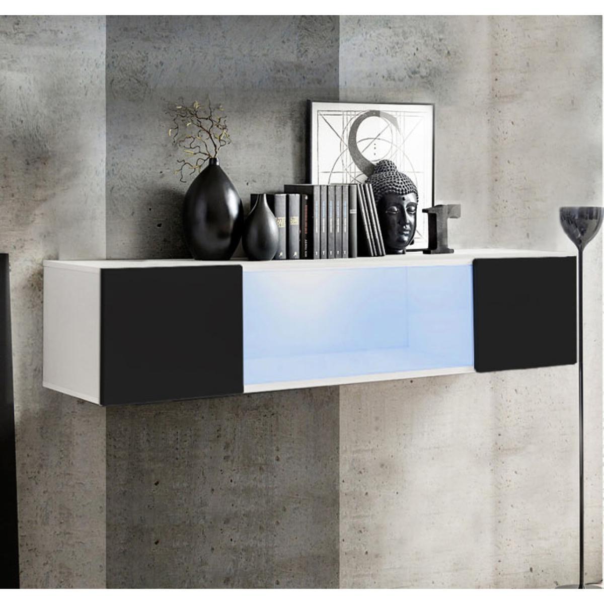 Design Ameublement Armoire murale modèle Krista H160CC (160x30cm) blanc et noir
