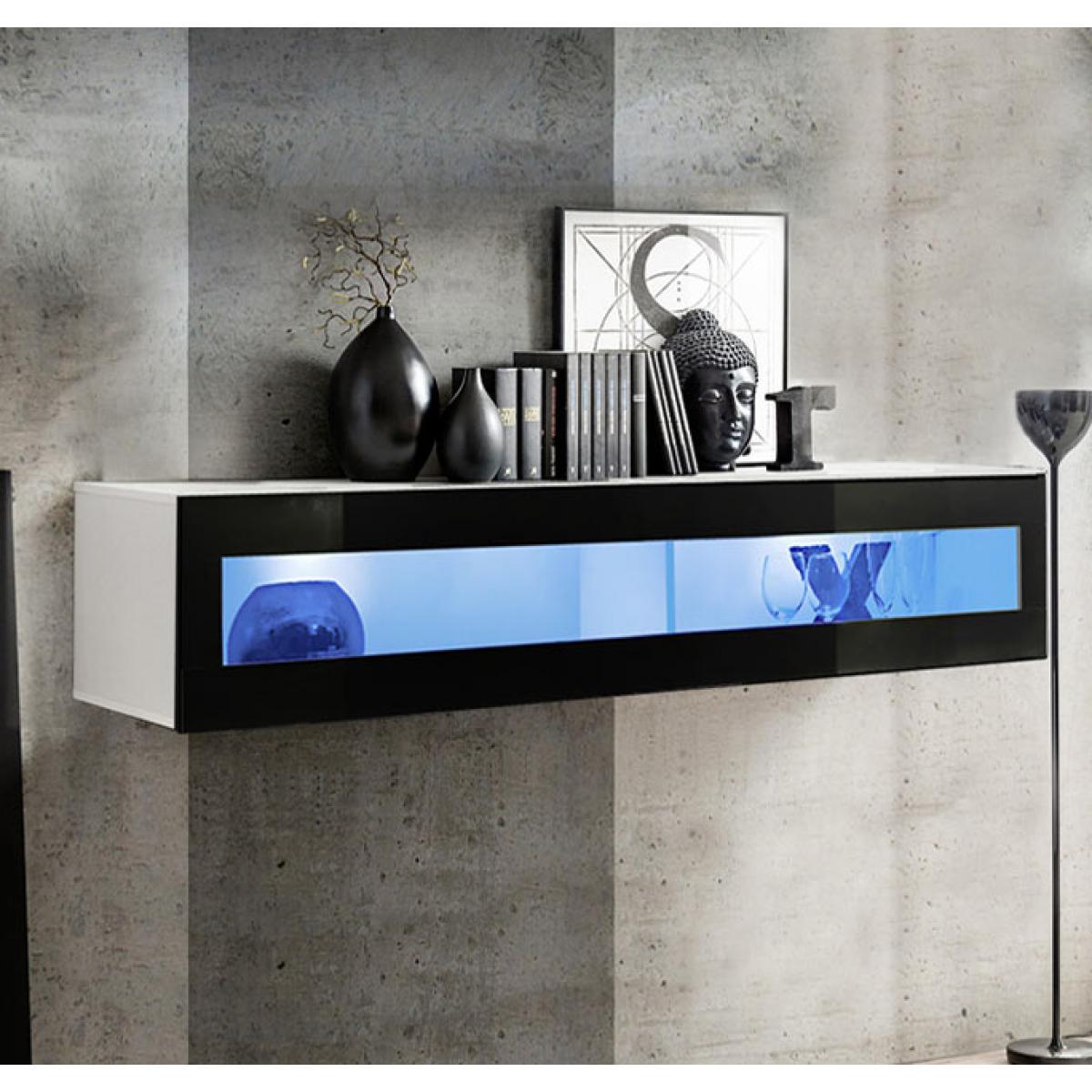 Design Ameublement Armoire murale modèle Krista H160CR (160x30cm) blanc et noir