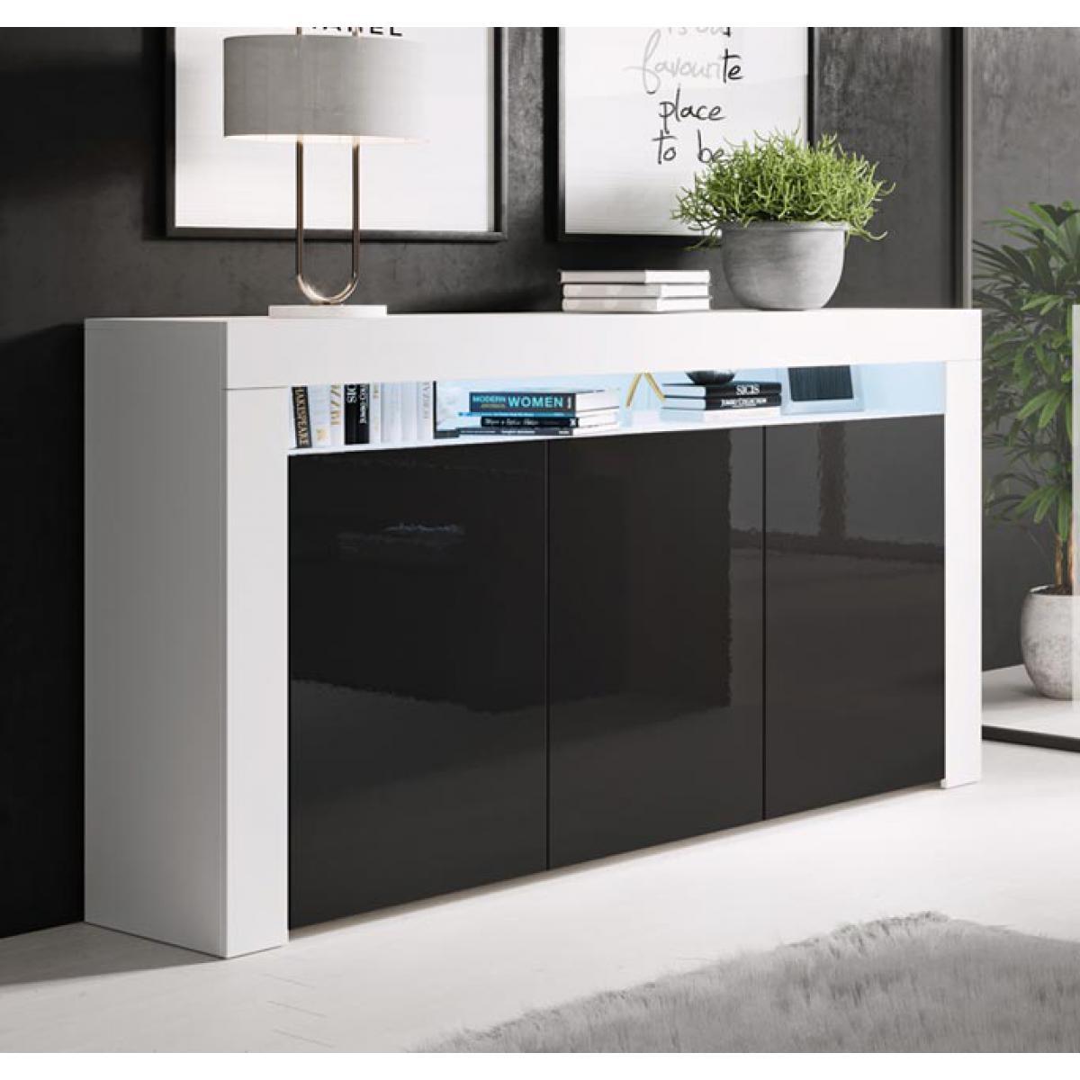 Design Ameublement Bahut modèle Aker couleur blanc et noir