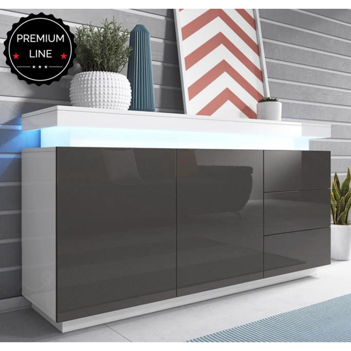 Design Ameublement Bahut modèle Osim couleur blanc et gris