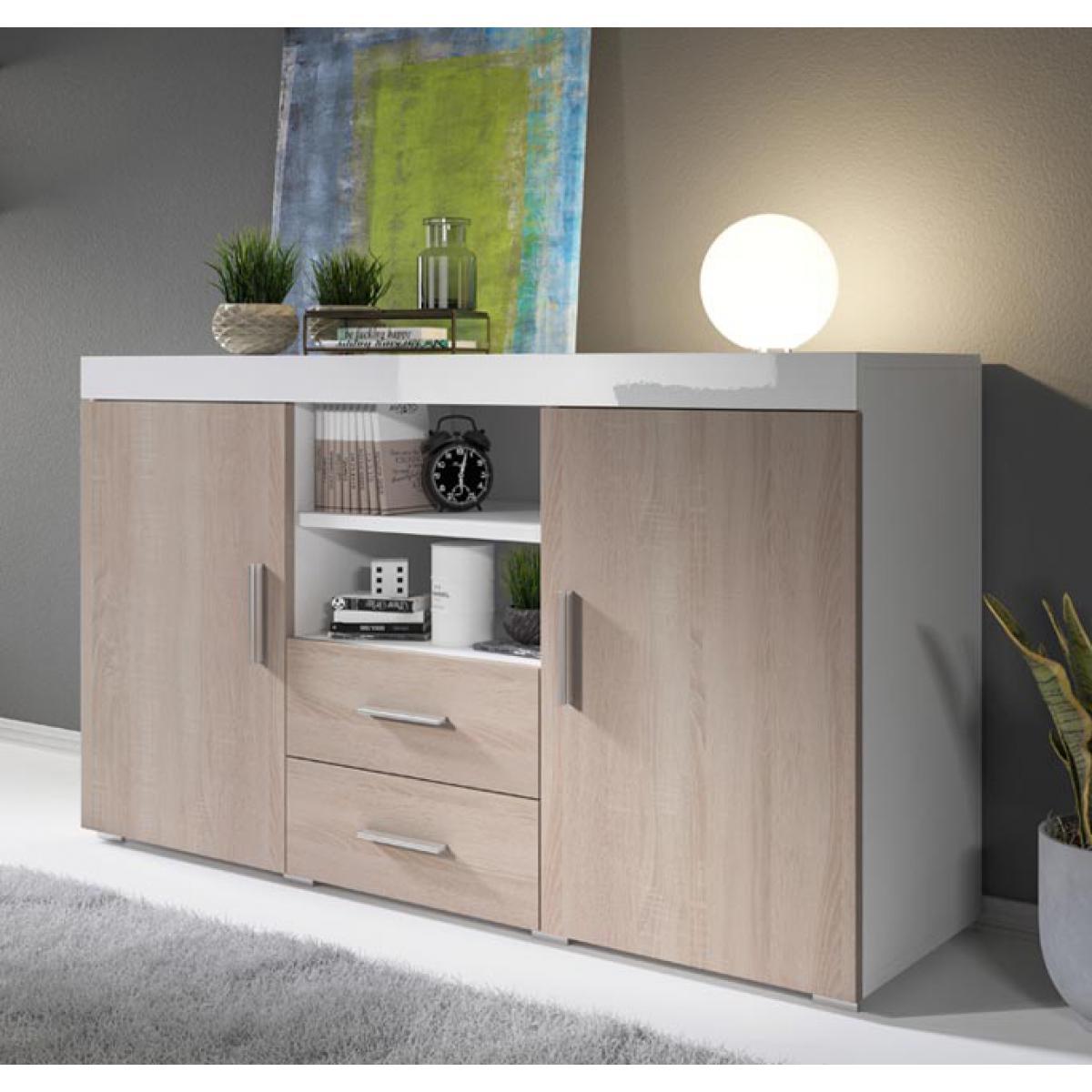 Design Ameublement Bahut modèle Roque couleur blanc et sonoma