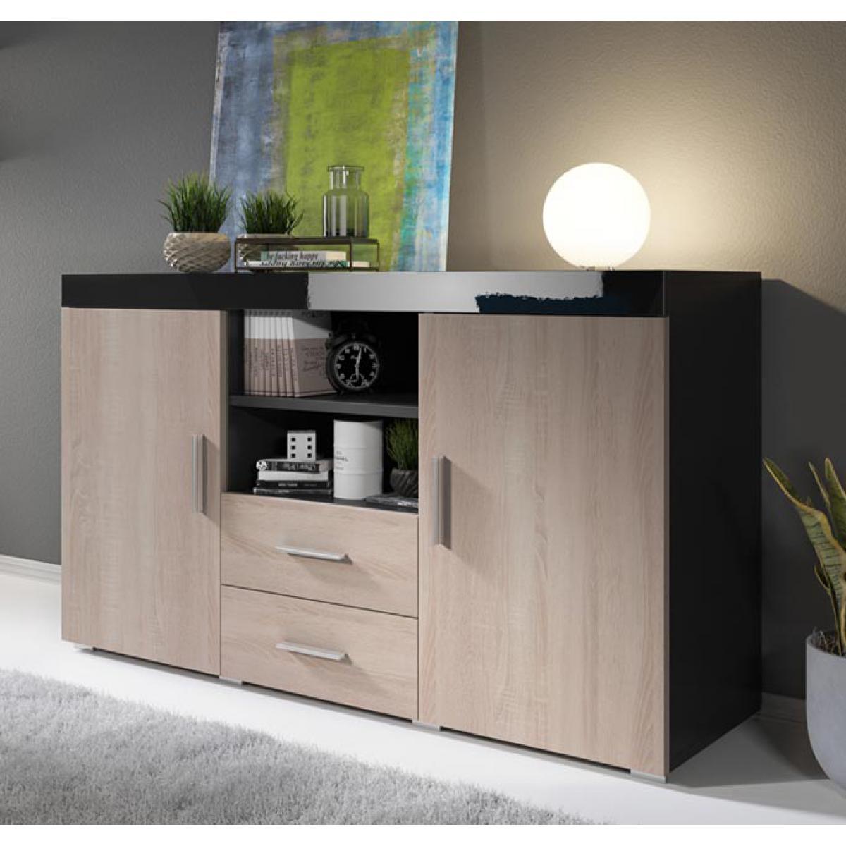 Design Ameublement Bahut modèle Roque couleur noir et sonoma