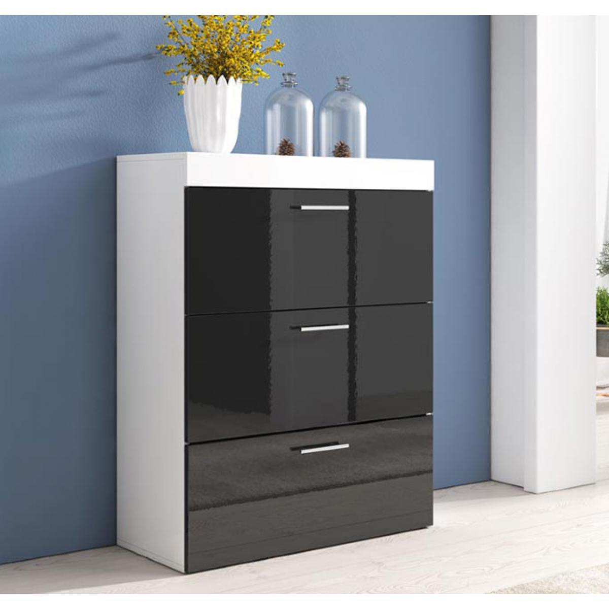 Design Ameublement Commode Dalia en couleur blanc et noir