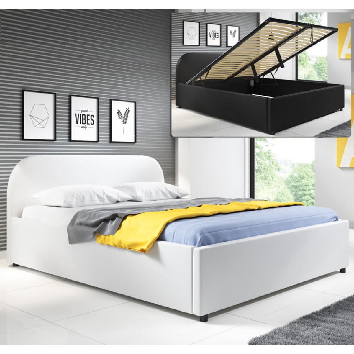 Design Ameublement Lit coffre design Lexy ? blanc (160x200cm)