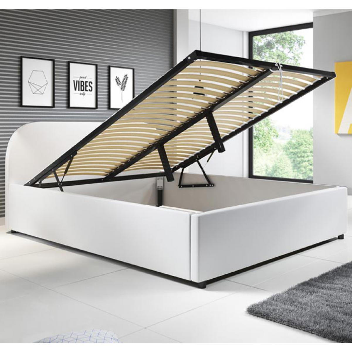 Design Ameublement Lit coffre design Lexy blanc vec matelas (180x200cm)