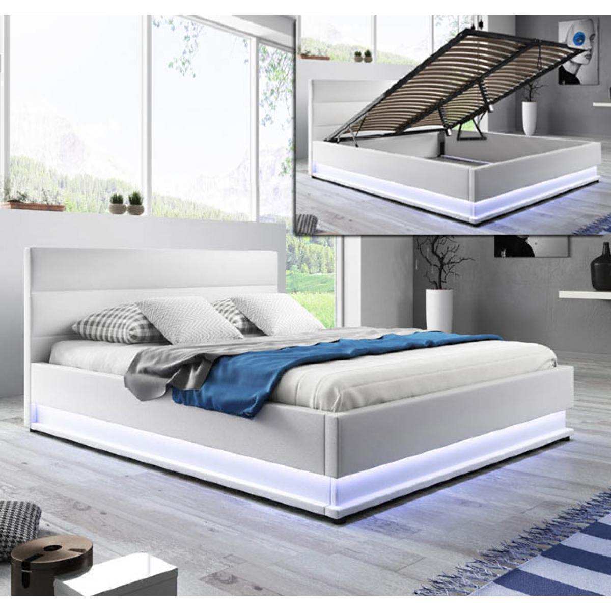 Design Ameublement Lit coffre design Nitas ? blanc (150X190cm)