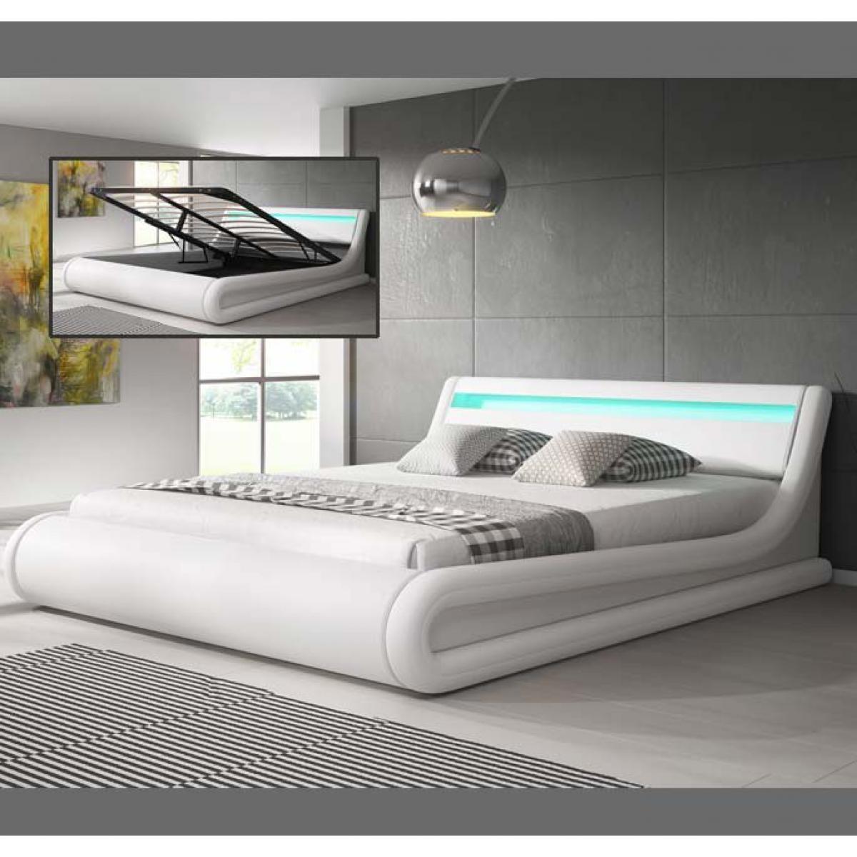 Design Ameublement Lit coffre design Parisina ? blanc (150x190cm)