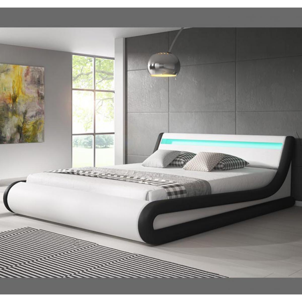 Design Ameublement Lit coffre design Parisina ? blanc avec noir (140x190cm)