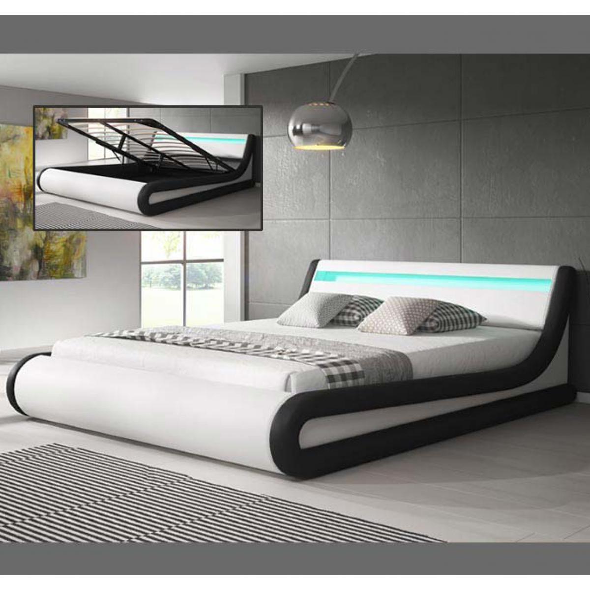 Design Ameublement Lit coffre design Parisina ? blanc avec noir (160x190cm)