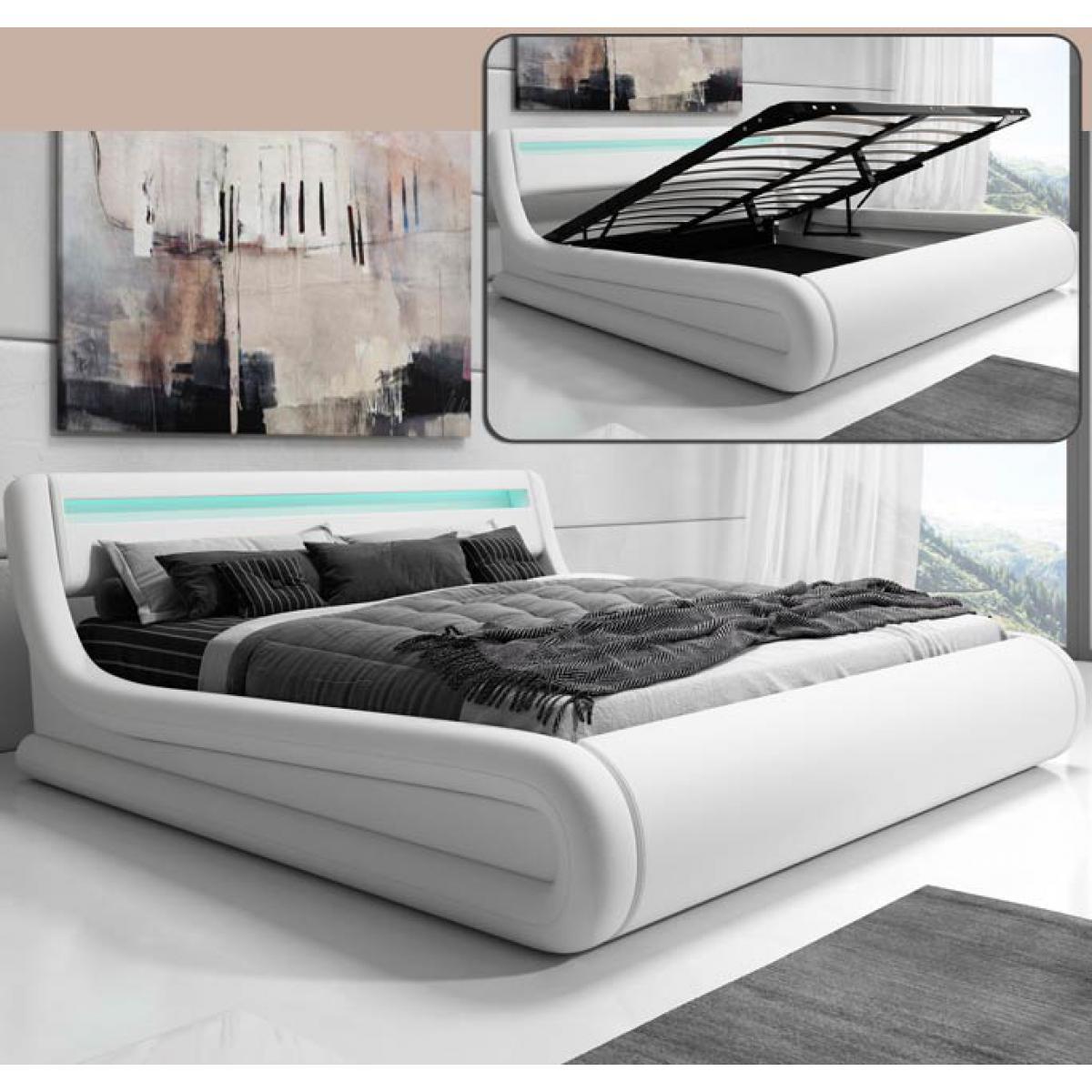 Design Ameublement Lit coffre design Rodas ? blanc (180x200cm)
