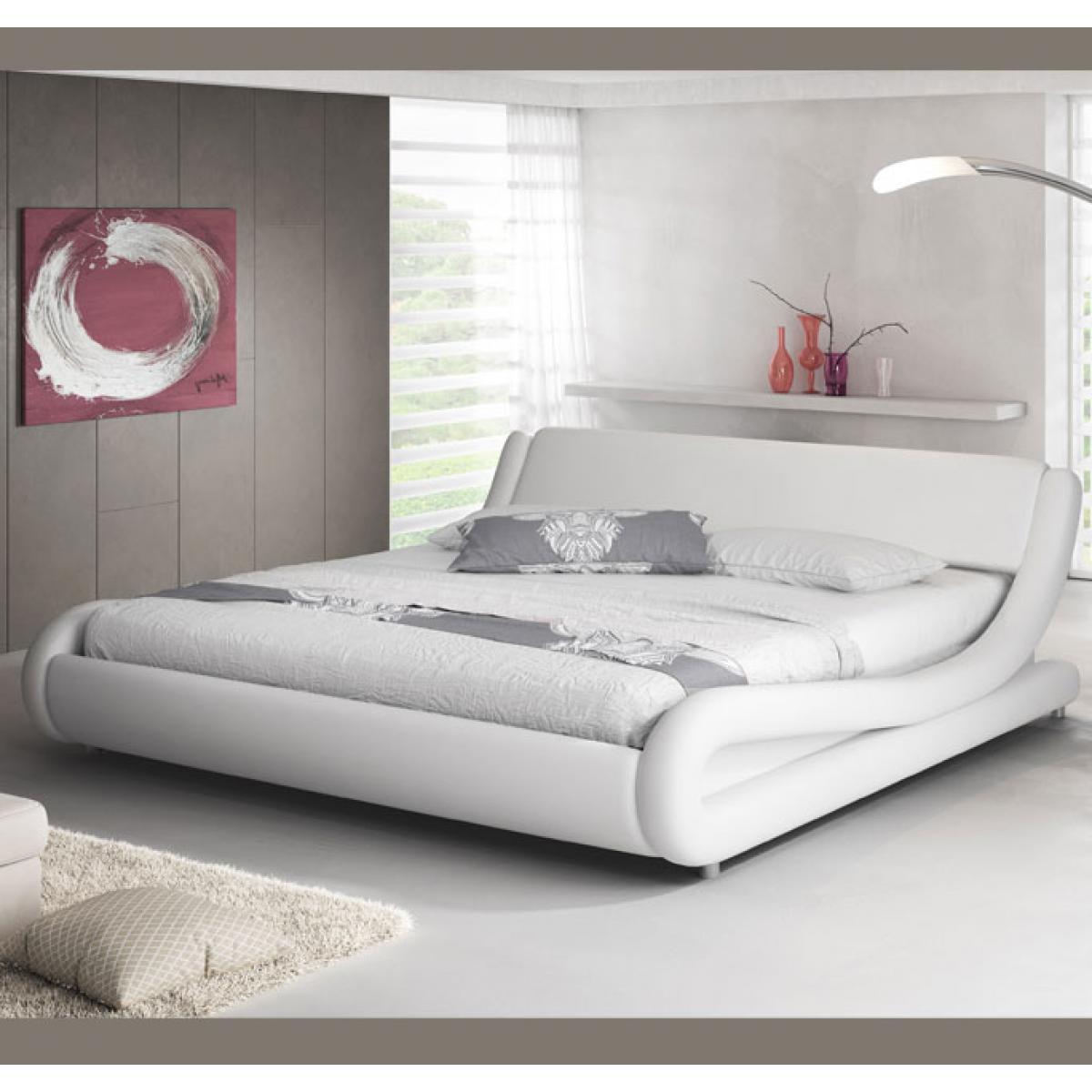 Design Ameublement Lit double Alessia ? blanc 160x190cm