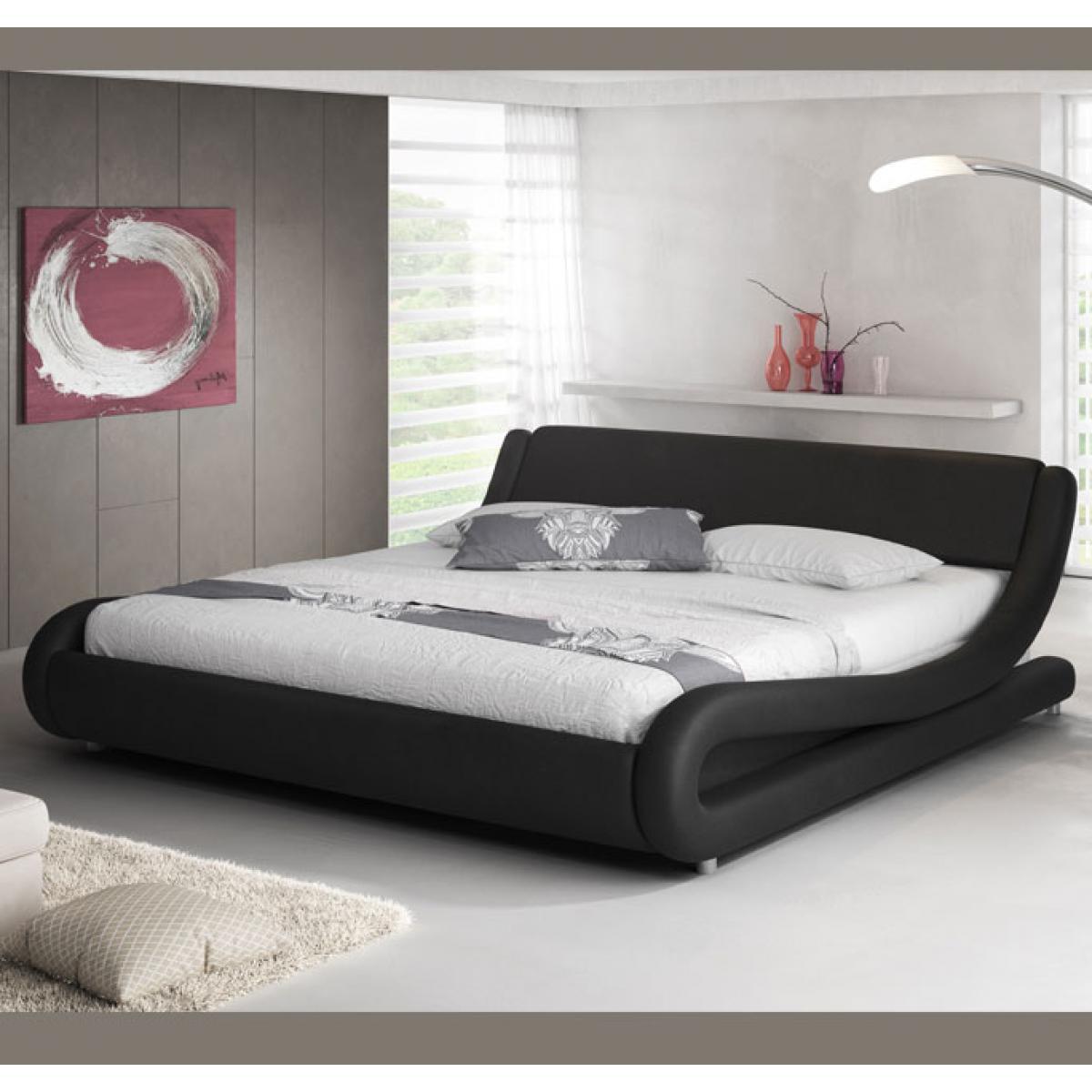 Design Ameublement Lit simple Alessia ? noir 90x190cm