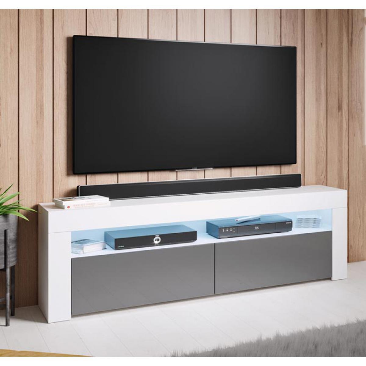 Design Ameublement Meuble TV modèle Aker (140x50,5cm) couleur blanc et gris