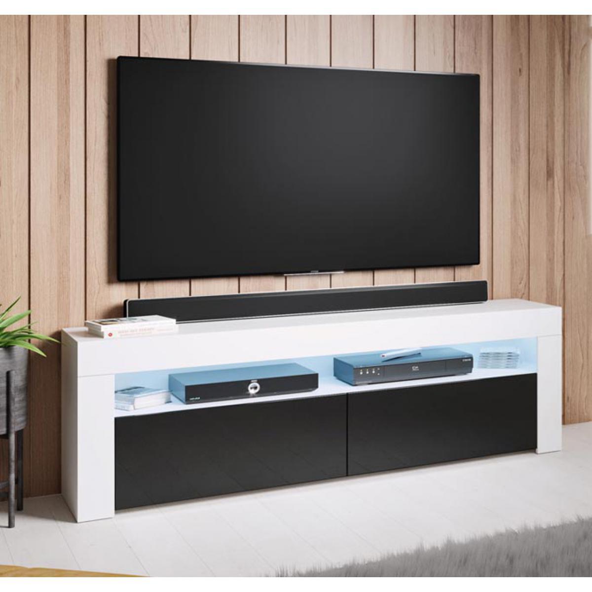Design Ameublement Meuble TV modèle Aker (140x50,5cm) couleur blanc et noir
