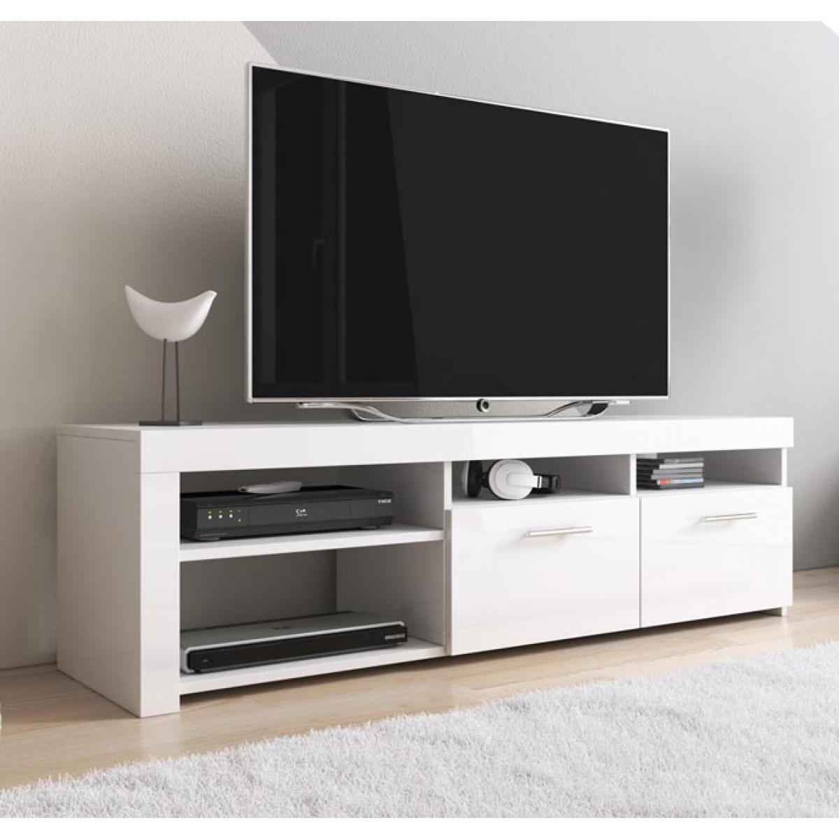 Design Ameublement Meuble TV modèle Clio (140x40cm) couleur blanc