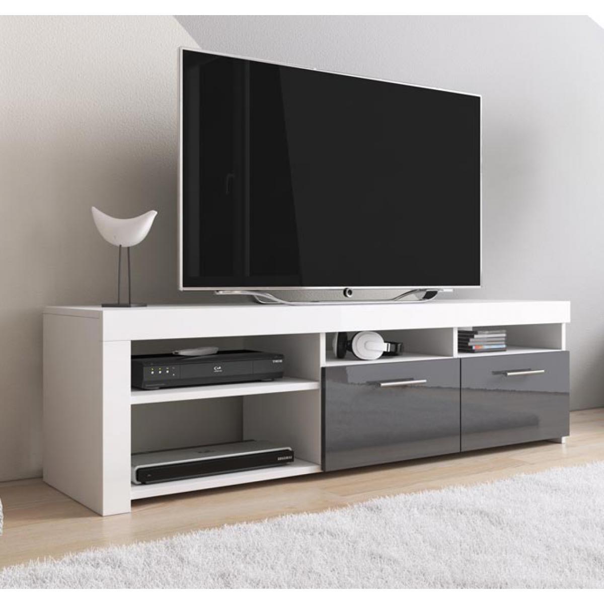 Design Ameublement Meuble TV modèle Clio (140x40cm) couleur blanc et gris
