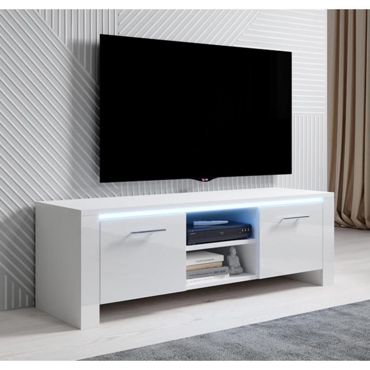 Design Ameublement Meuble TV modèle Elina (120x40cm) couleur blanc avec LED RGB