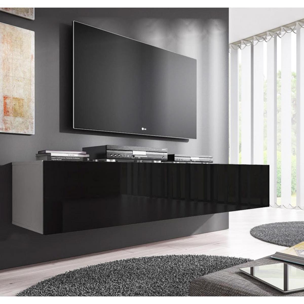 Design Ameublement Meuble TV modèle Forli XL (160 cm) blanc et noir