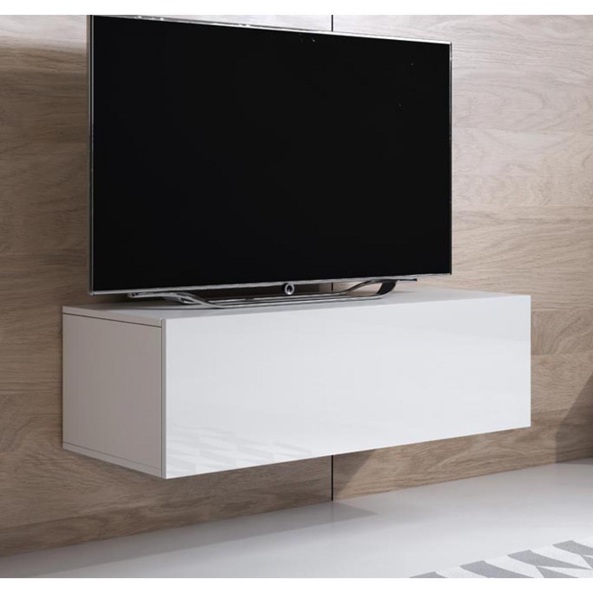 Design Ameublement Meuble TV modèle Luke H1 (100x30cm) couleur blanc