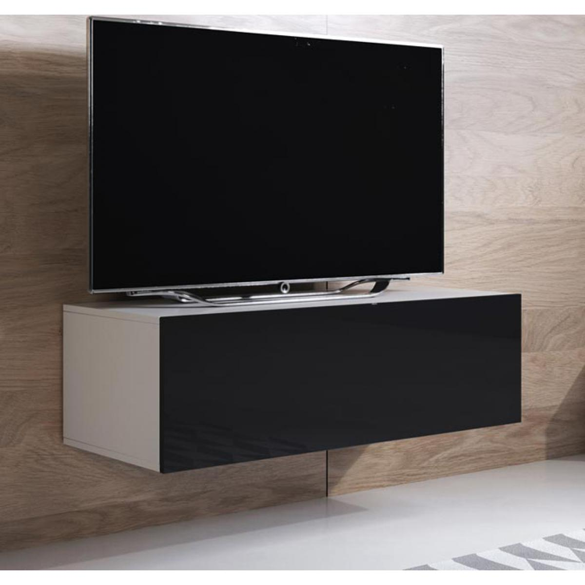 Design Ameublement Meuble TV modèle Luke H1 (100x30cm) couleur blanc et noir