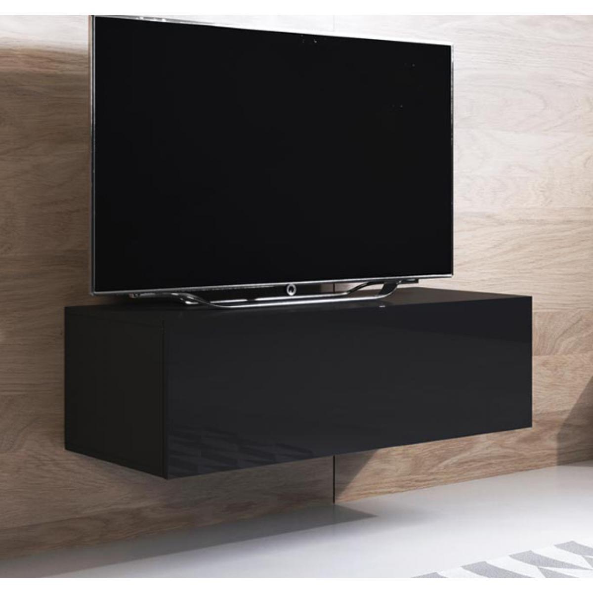 Design Ameublement Meuble TV modèle Luke H1 (100x30cm) couleur noir