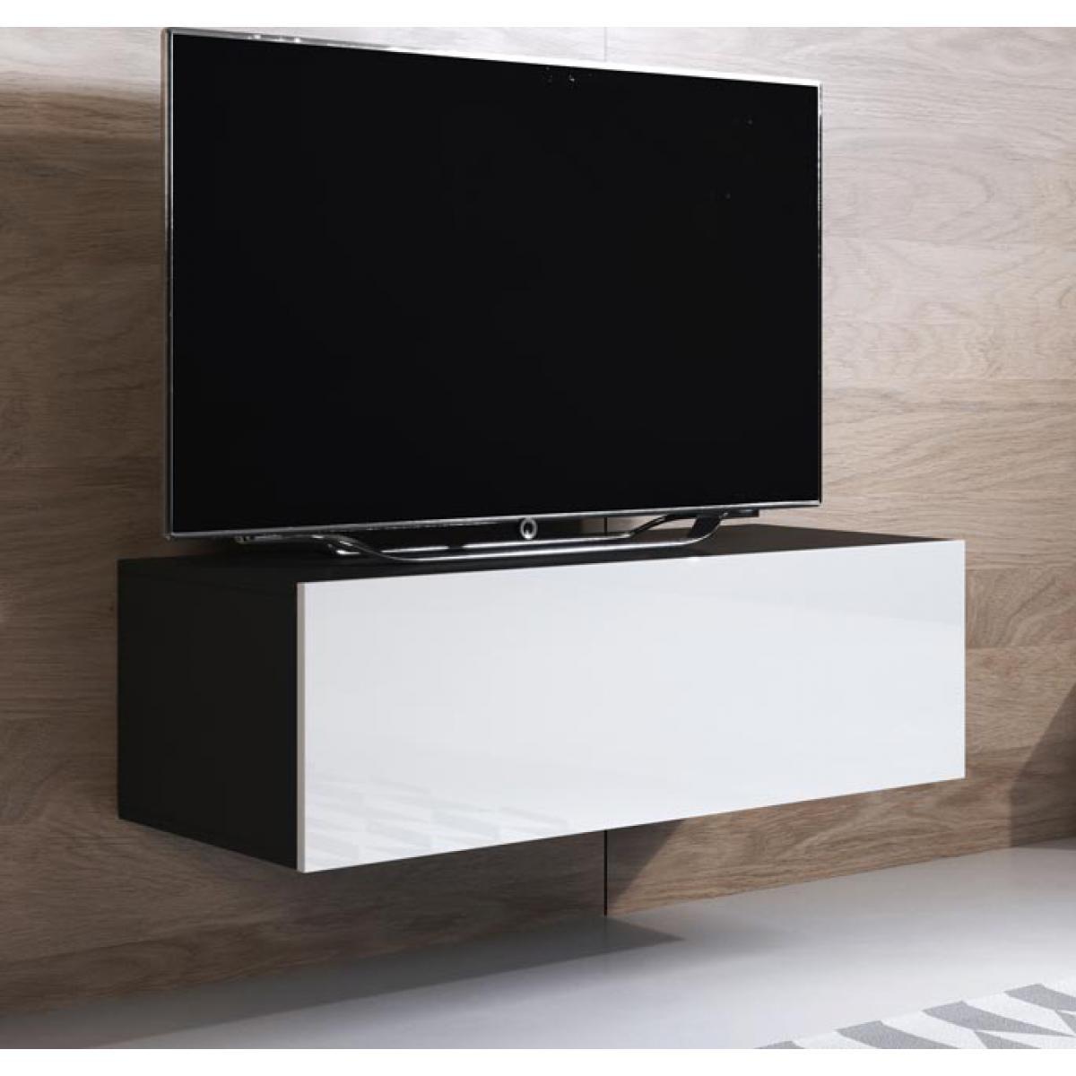 Design Ameublement Meuble TV modèle Luke H1 (100x30cm) couleur noir et blanc