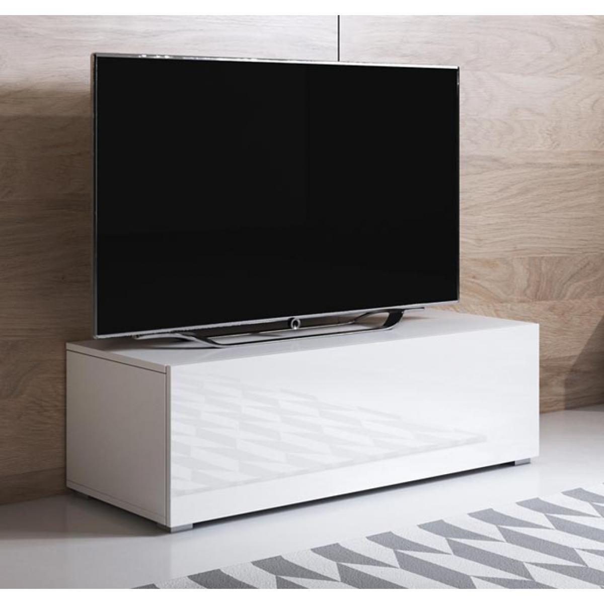 Design Ameublement Meuble TV modèle Luke H1 (100x32cm) couleur blanc avec pieds standard