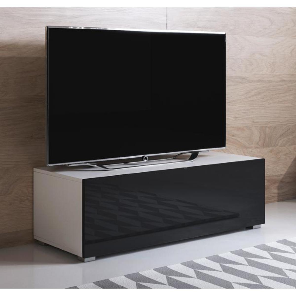 Design Ameublement Meuble TV modèle Luke H1 (100x32cm) couleur blanc et noir avec pieds standard
