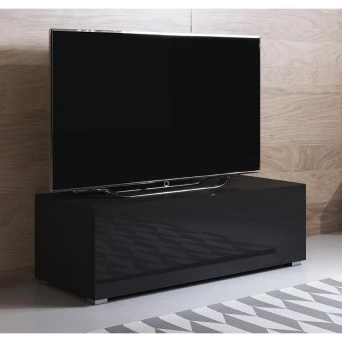 Design Ameublement Meuble TV modèle Luke H1 (100x32cm) couleur noir avec pieds standard