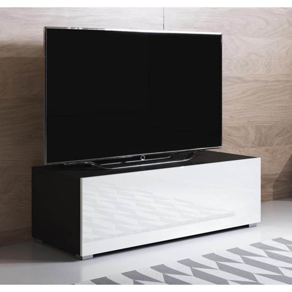 Design Ameublement Meuble TV modèle Luke H1 (100x32cm) couleur noir et blanc avec pieds standard
