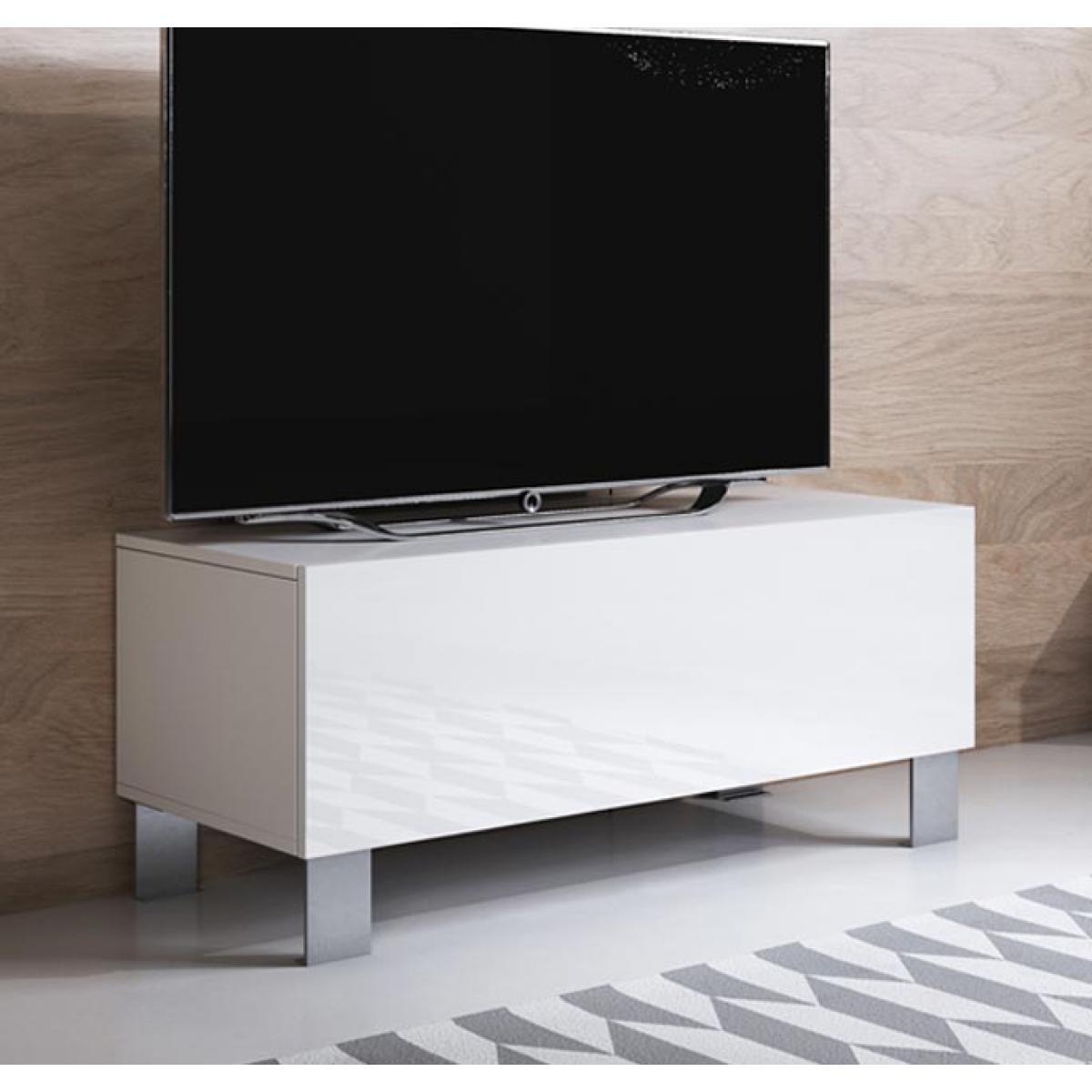 Design Ameublement Meuble TV modèle Luke H1 (100x42cm) couleur blanc avec pieds en aluminium