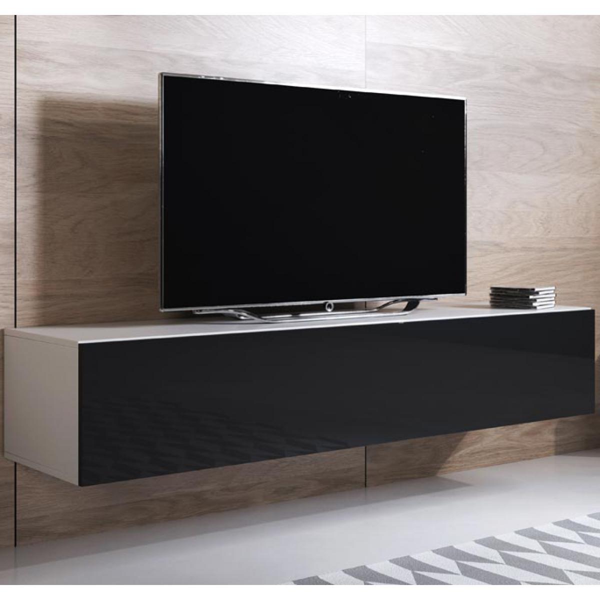 Design Ameublement Meuble TV modèle Luke H2 (160x30cm) couleur blanc et noir