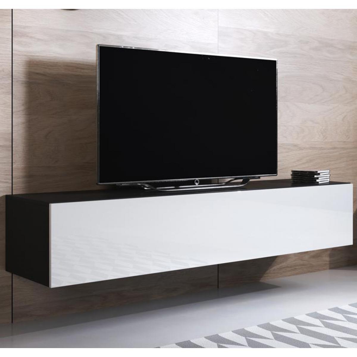 Design Ameublement Meuble TV modèle Luke H2 (160x30cm) couleur noir et blanc