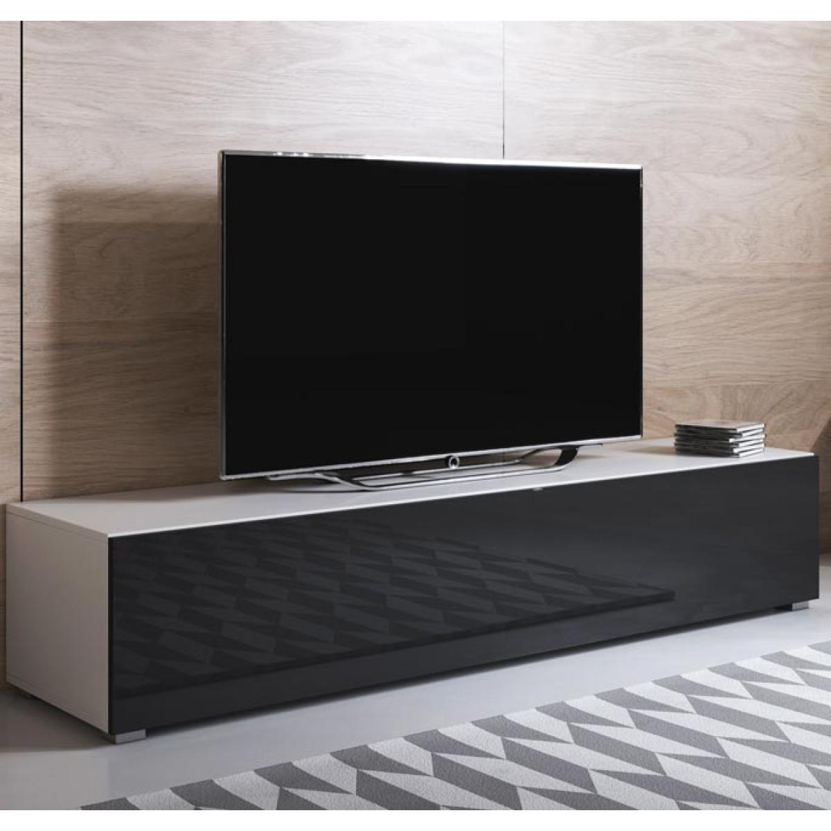 Design Ameublement Meuble TV modèle Luke H2 (160x32cm) couleur blanc et noir avec pieds standard