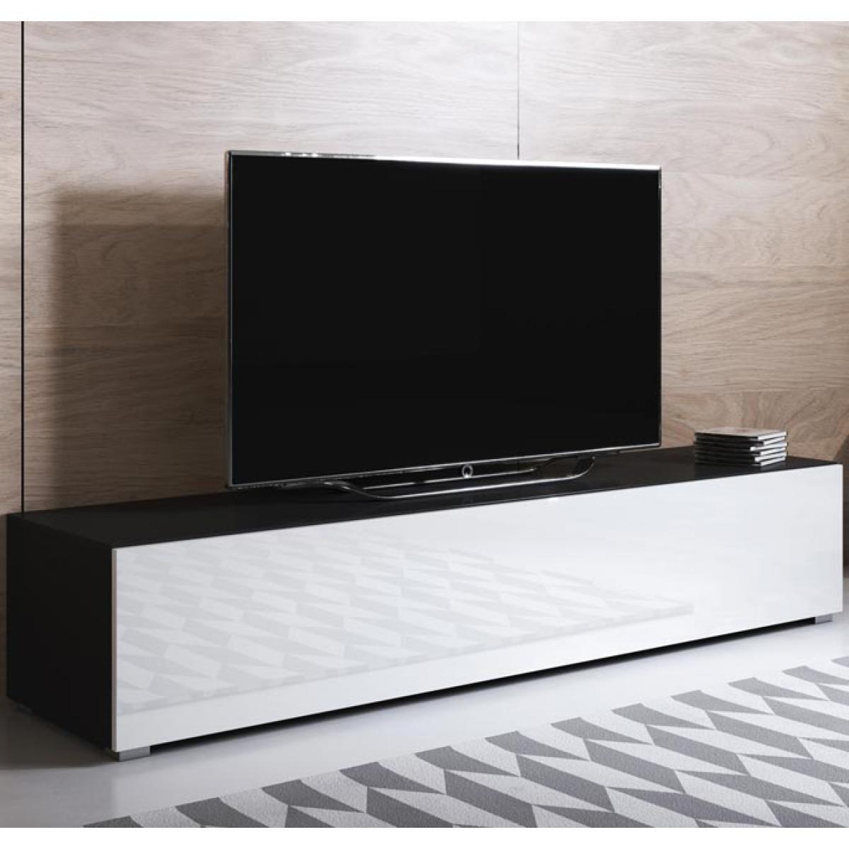 Design Ameublement Meuble TV modèle Luke H2 (160x32cm) couleur noir et blanc avec pieds standard