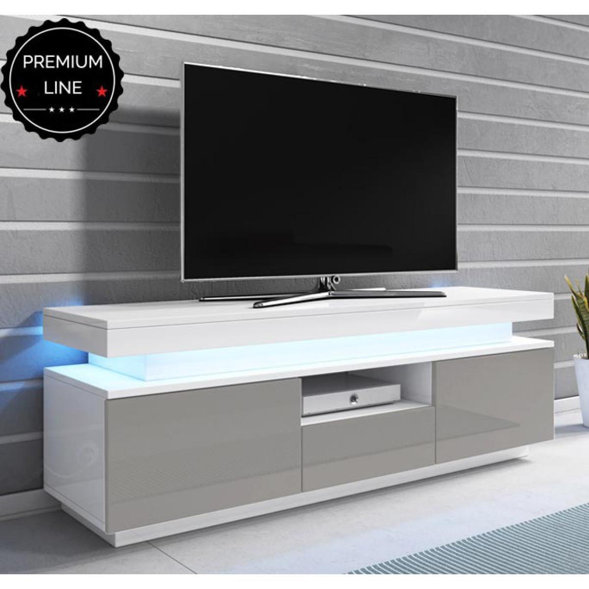 Design Ameublement Meuble TV modèle Persis (130cm) bianc et gris