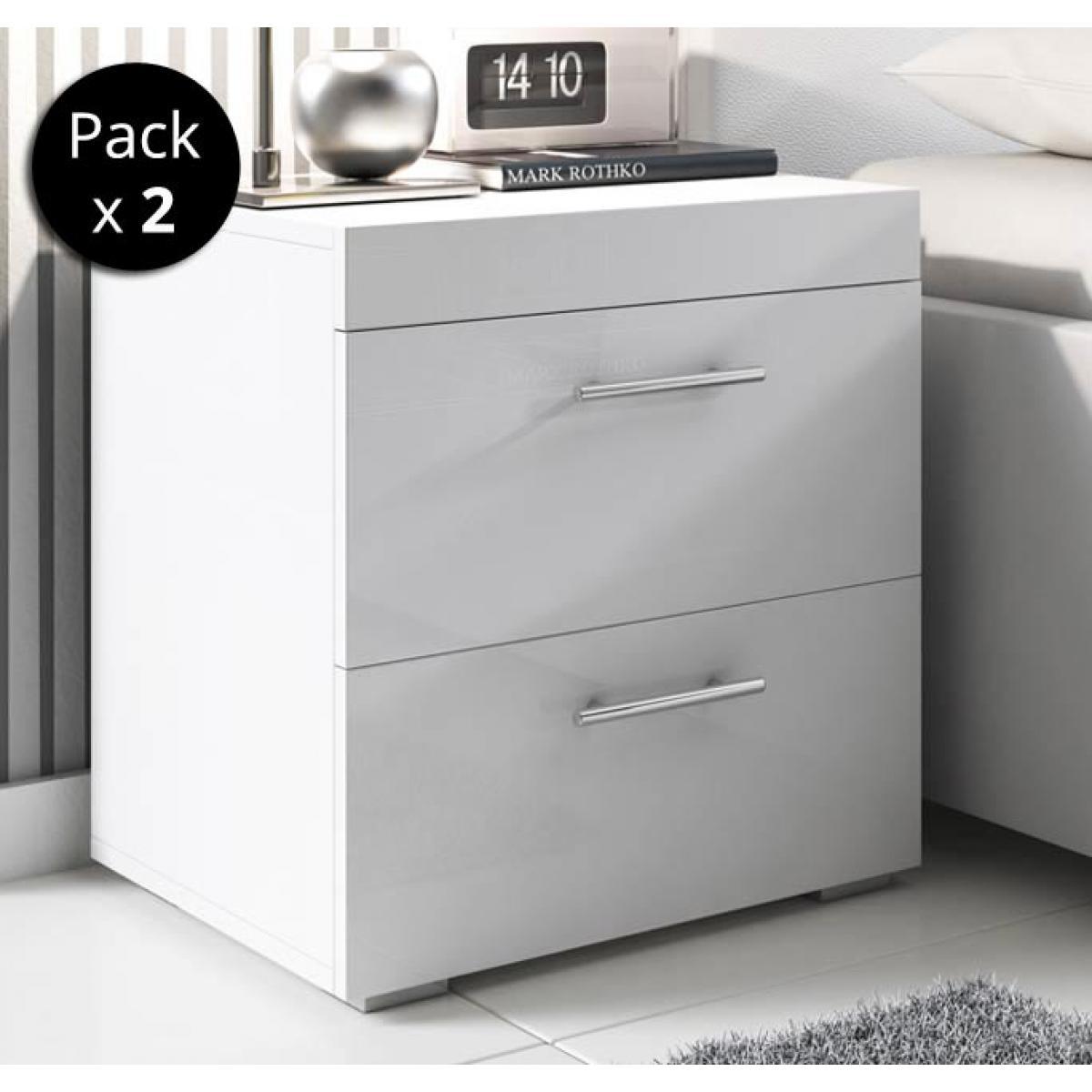 Design Ameublement Pack de 2 tables de chevet Ciro blanc