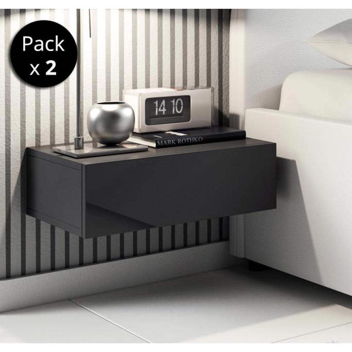 Design Ameublement Pack de 2 tables de chevet Europa couleur noir