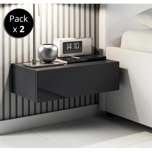 Design Ameublement - Pack de 2 tables de chevet Europa couleur noir - Chevet