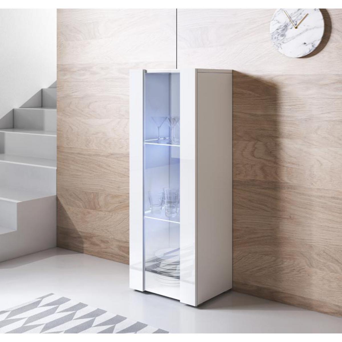 Design Ameublement Vitrine modèle Luke V2 (40x128cm) couleur blanc avec pieds standard
