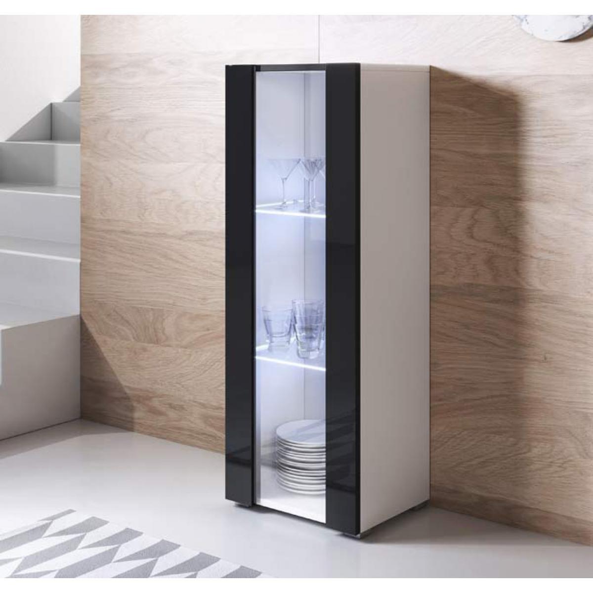Design Ameublement Vitrine modèle Luke V2 (40x128cm) couleur blanc et noir avec pieds standard