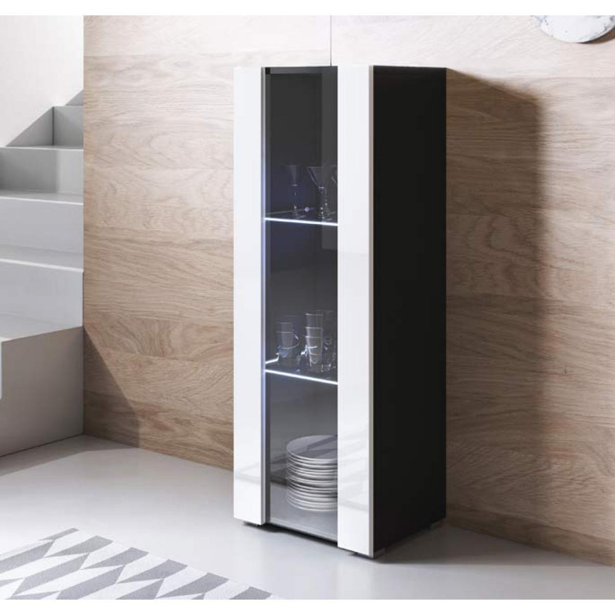 Design Ameublement Vitrine modèle Luke V2 (40x128cm) couleur noir et blanc avec pieds standard
