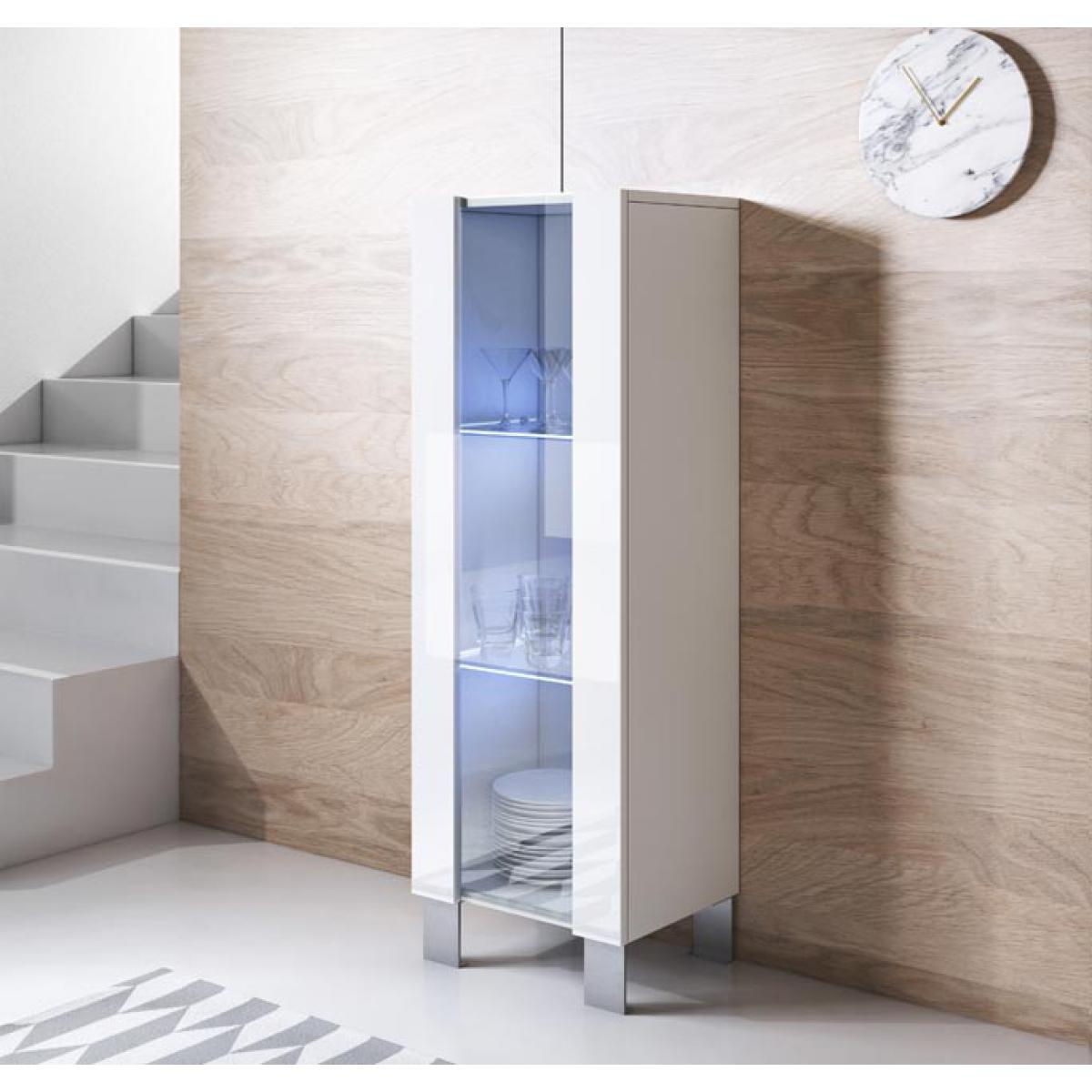 Design Ameublement Vitrine modèle Luke V2 (40x138cm) couleur blanc avec pieds en aluminium