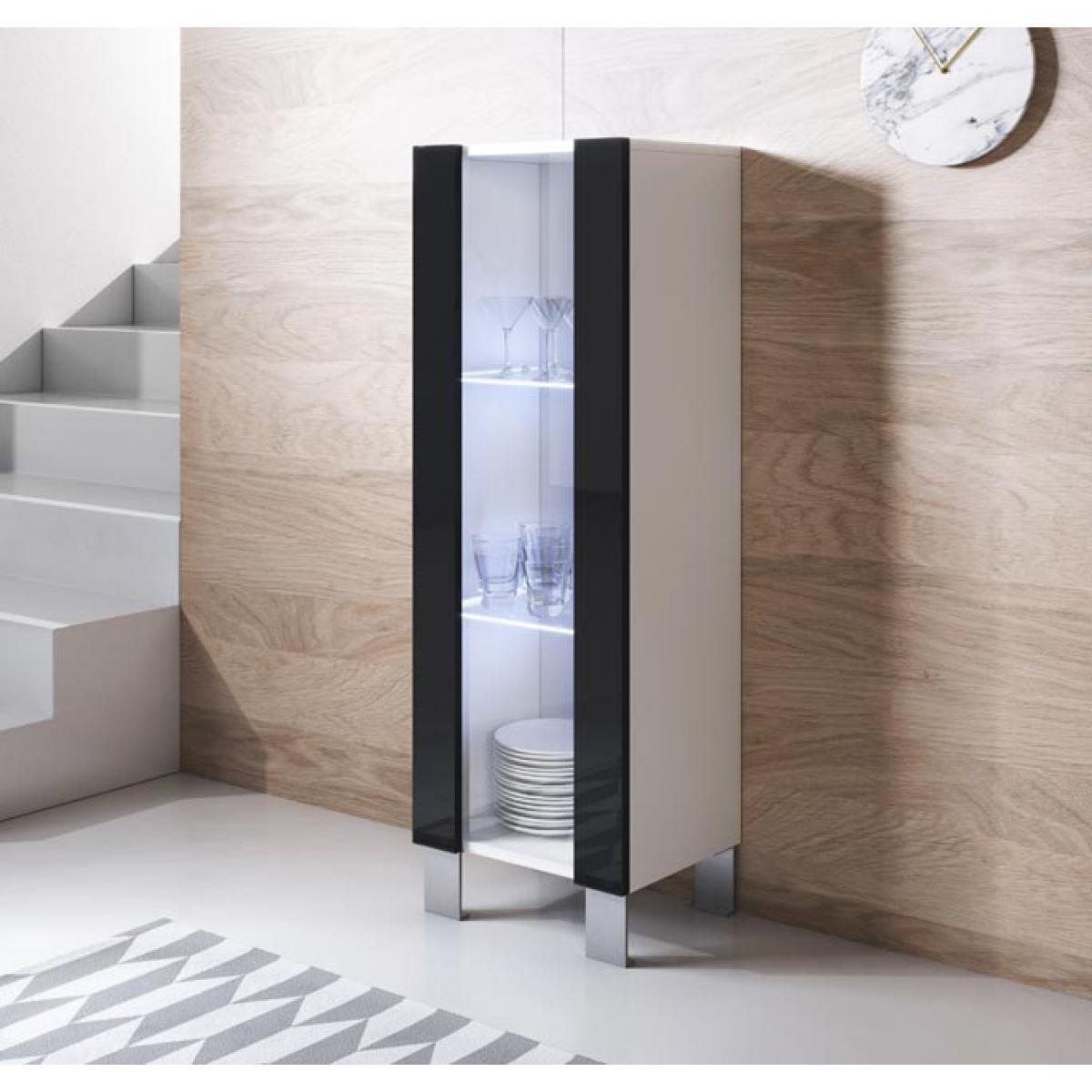 Design Ameublement Vitrine modèle Luke V2 (40x138cm) couleur blanc et noir avec pieds en aluminium