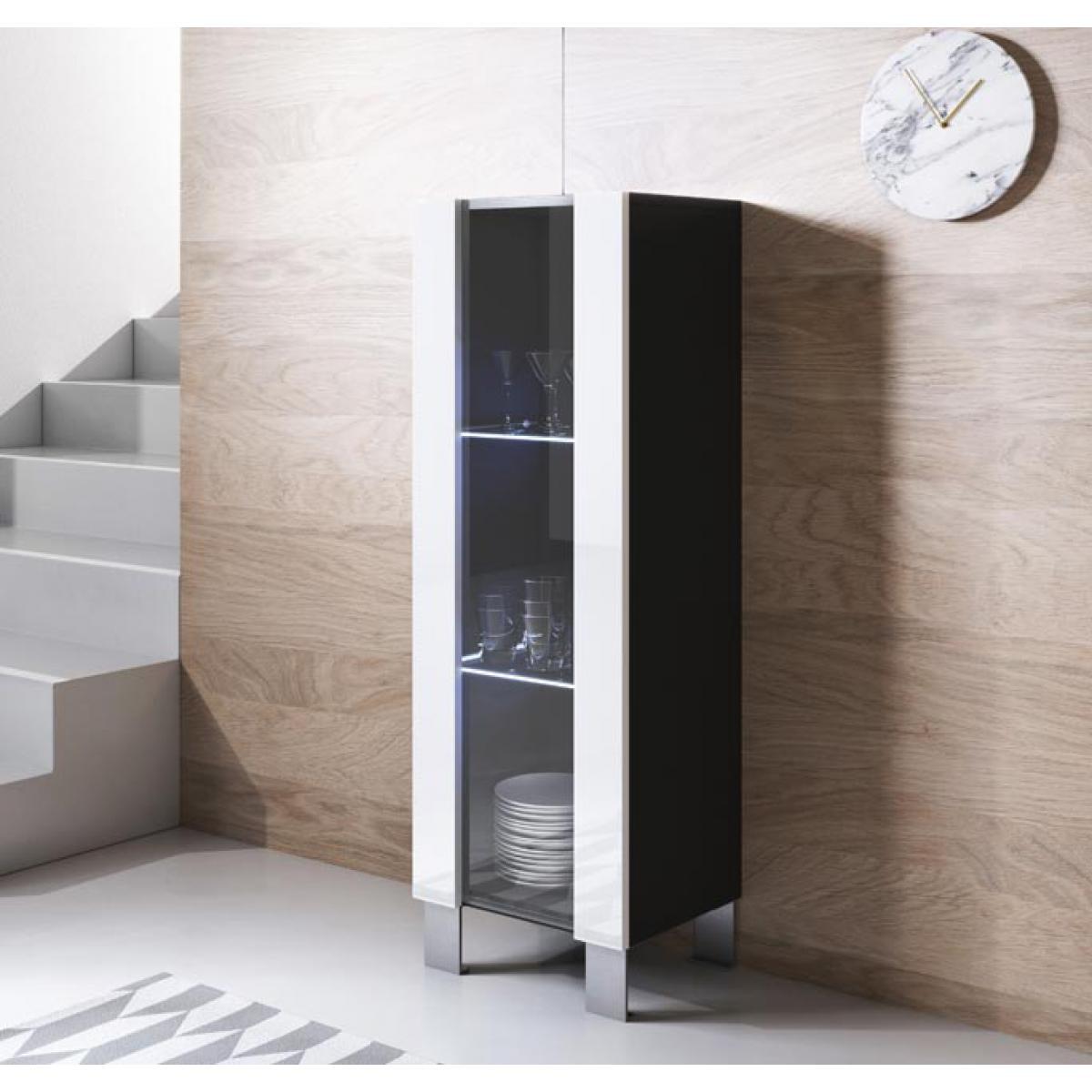 Design Ameublement Vitrine modèle Luke V2 (40x138cm) couleur noir et blanc avec pieds en aluminium