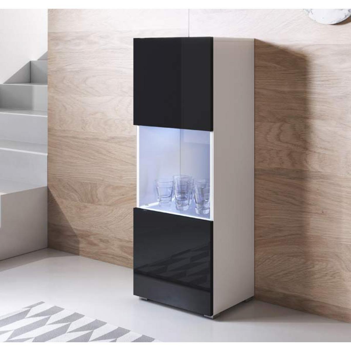 Design Ameublement Vitrine modèle Luke V3 (40x128cm) couleur blanc et noir avec pieds standard