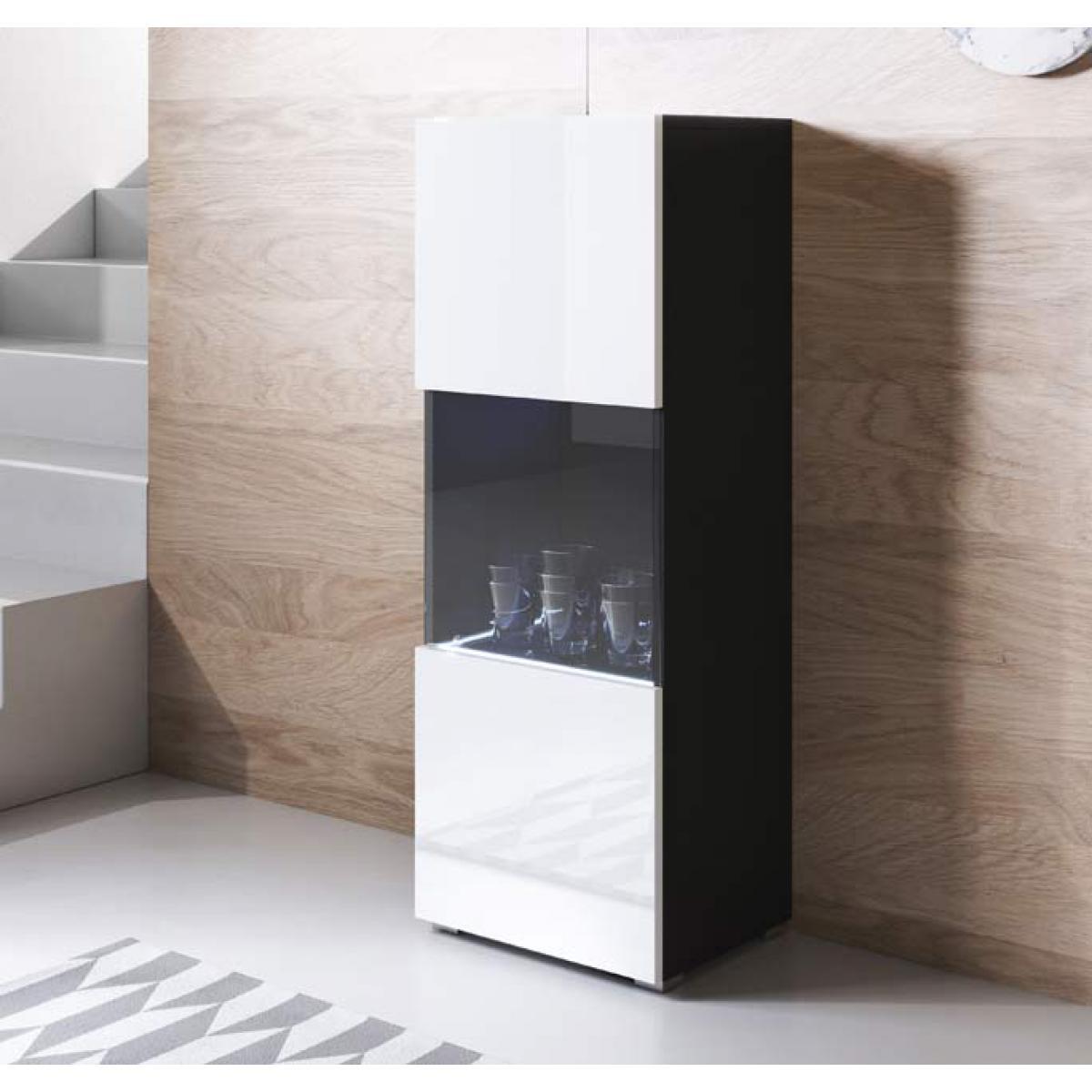 Design Ameublement Vitrine modèle Luke V3 (40x128cm) couleur noir et blanc avec pieds standard