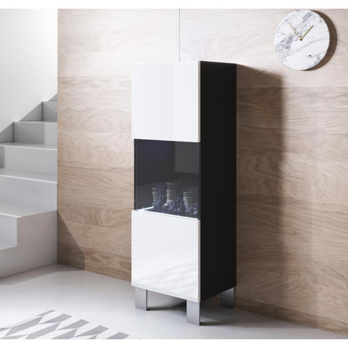 Design Ameublement Vitrine modèle Luke V3 (40x138cm) couleur noir et blanc avec pieds en aluminium
