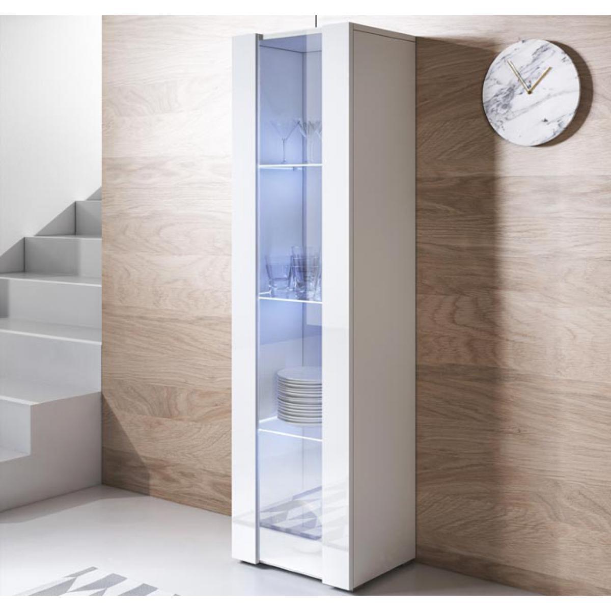 Design Ameublement Vitrine modèle Luke V5 (40x167cm) couleur blanc avec pieds standard
